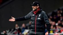 Liverpool's German manager Jurgen Klopp gestures during the UEFA Champions League, round of 16, first leg football match between Club Atletico de Madrid and Liverpool FC at the Wanda Metropolitano stadium in Madrid on February 18, 2020. (Photo by JAVIER SORIANO / AFP)