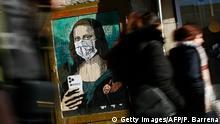 BdTD Spanien Wandgemälde Mona Lisa mit Mundschutz