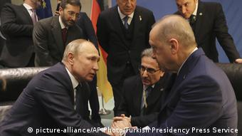 Berlin'deki Libya Konferansı'nda Türkiye Cumhurbaşkanı Erdoğan ve Rusya lideri Putin