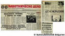 Zeitungsausschnitte von Rabotnichesko Delo, Demokratsiya und Trud
