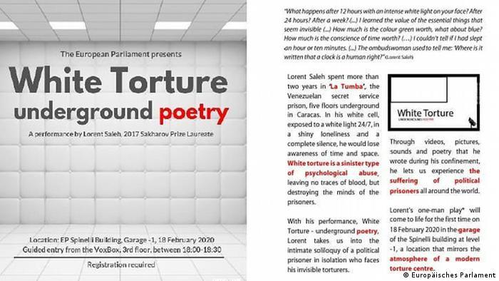 Plakat der Performance White Torture