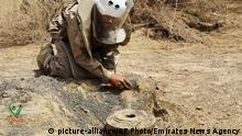 In this undated photograph released Aug. 19, 2018 by the state-run Emirates News Agency (WAM) on behalf of the Saudi-funded Masam anti-mine operation, an unidentified de-miner uncovers a mine near Marib, Yemen. Land mines scattered by Yemen's Houthi rebels will remain a threat even if the latest negotiations succeed in halting the civil war. While the Houthis' firing of ballistic missiles deep into Saudi Arabia has drawn the most attention, their widespread use of mines within Yemen represents a risk for generations to come in the Arab world's poorest country. Yemen is also littered with unexploded cluster munitions and bombs dropped by the Saudi-led coalition, including some made in the United States. (WAM via AP) |