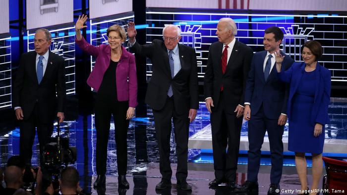 Kandidati za predsjedničkog kandidata demokrata: Mike Bloomberg, Elizabeth Warren, Bernie Sanders, Joe Biden, Pete Buttigieg, Amy Klobuchar