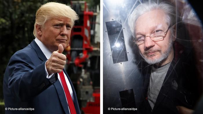 Kombobild Donald Trump und Julian Assange