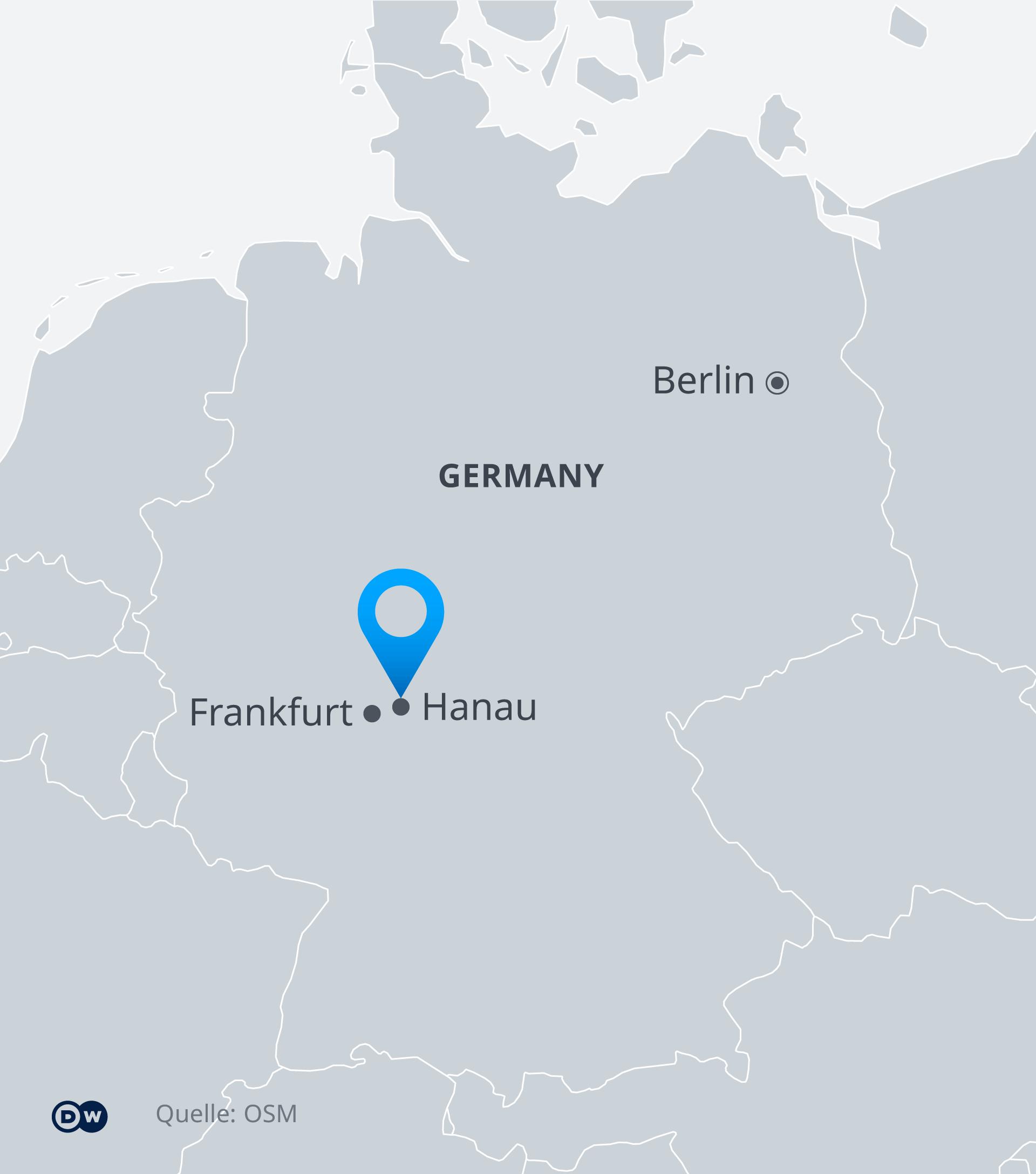 Karte - Anschläge in Hanau, Hessen, Deutschland - EN