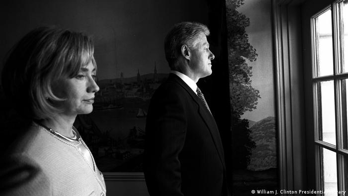 Film still from Hillary, B&W photo of Hillary and Bill Clinton
