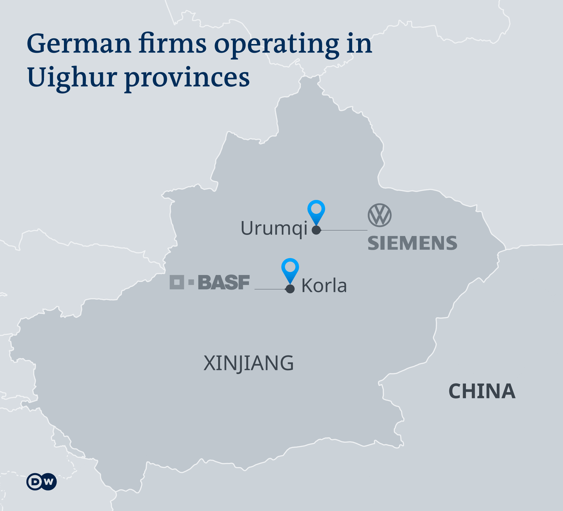 DW Infographic: German firms operaating in Uighur provinces in China