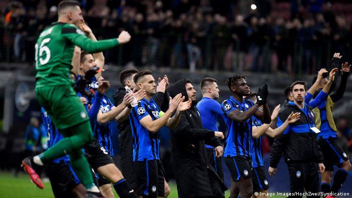 Atalanta celebrate their big 4-1 over Valencia, but the game has since been described as a 'biological bomb'