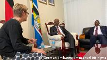 The Ambassador of the Federal Republic of Germany to Tanzania, Mrs Regine Hess, in EAC Headquarters to present her letter of credence to the Secretary General of the EAC Secretariat, Amb. Libérat Mfumukeko, to be accredited as the new German Ambassador to the EAC.