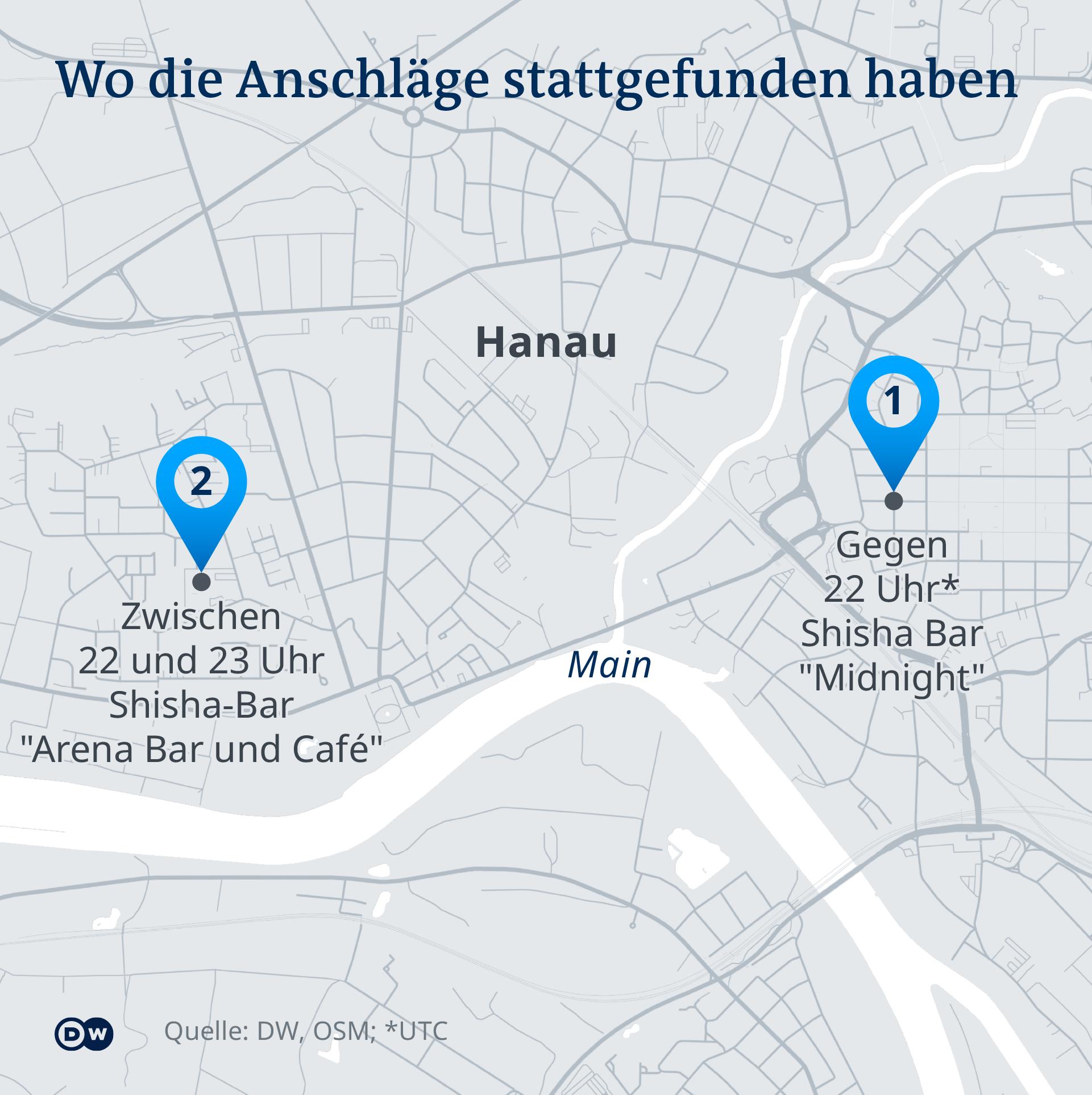 Infografik - Detailkarte der Anschlagsziele in Hanau - DE