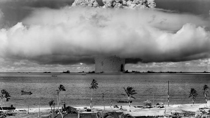 US nuclear weapons test with explosion filmed at Bikini Atoll in 1946