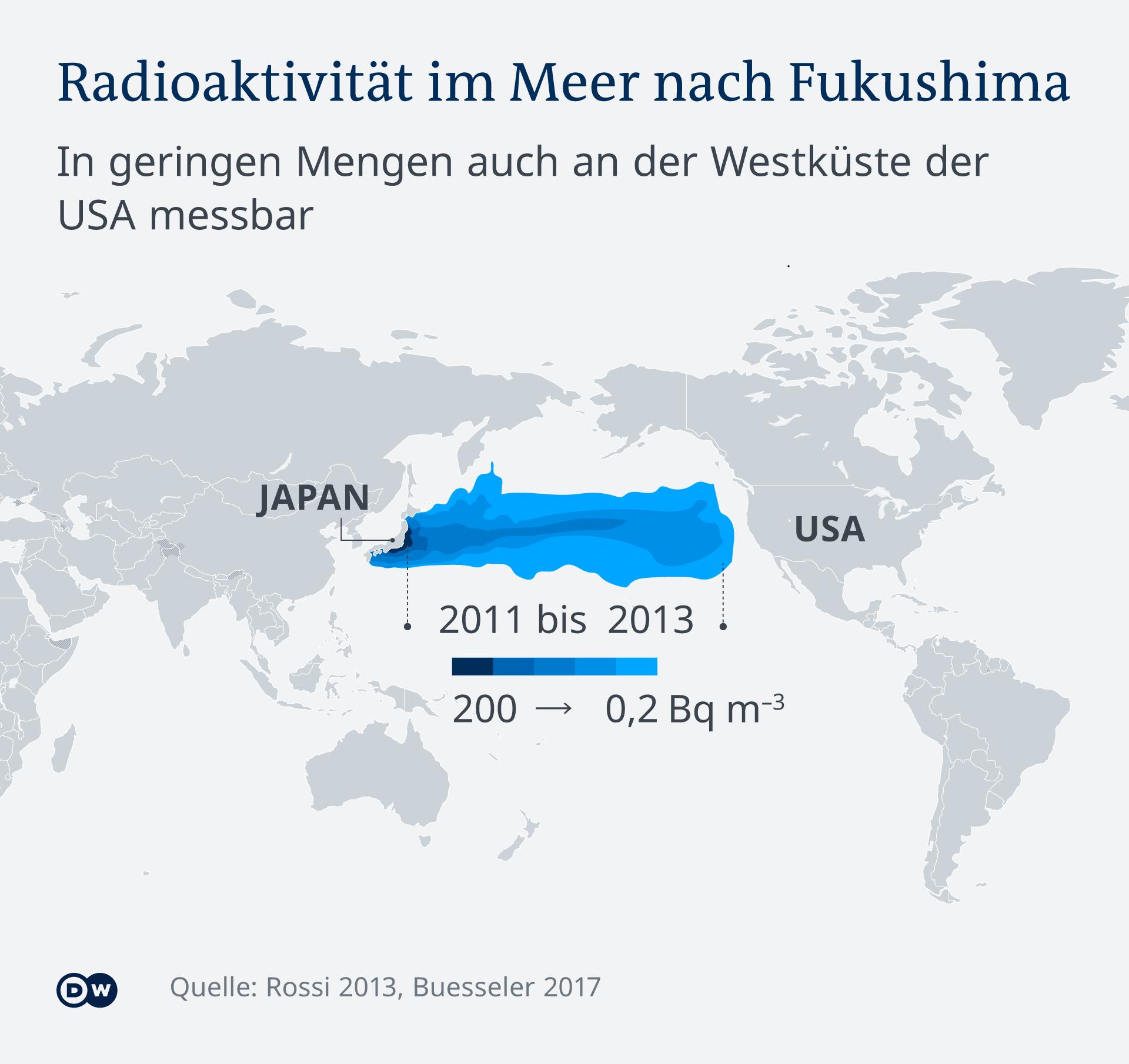 Infografik - Radioaktivität im Meer nach Fukushima - DE