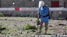 A member of the Yemeni pro-government forces searches for land mines in the third-largest city Taez in southwestern Yemen, on November 6, 2019. (Photo by AHMAD AL-BASHA / AFP) (Photo by AHMAD AL-BASHA/AFP via Getty Images)