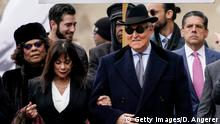 WASHINGTON, DC - FEBRUARY 20: Roger Stone, former adviser to U.S. President Donald Trump, with his wife Nydia arrives at E. Barrett Prettyman United States Courthouse on February 20, 2020 in Washington, DC. Stone is due to be sentenced today after he was found guilty on seven felony counts of obstructing a congressional investigation into Russia's interference in the 2016 election. (Photo by Drew Angerer/Getty Images)