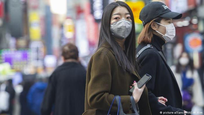 People wearing masks at Myeongdong on February 20, 2020 in Seoul, South Korea.