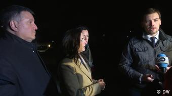 Арсен Аваков, глава Минздрава Зоряна Скалецкая и премьер Гончарук в Новых Санжарах