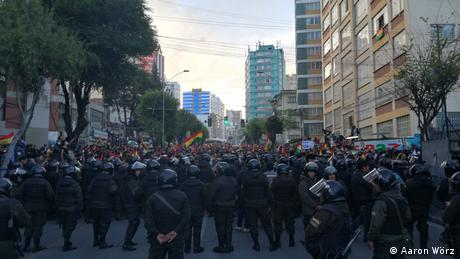 Eine Demonstration von Morales-Gegnern im November 2019
