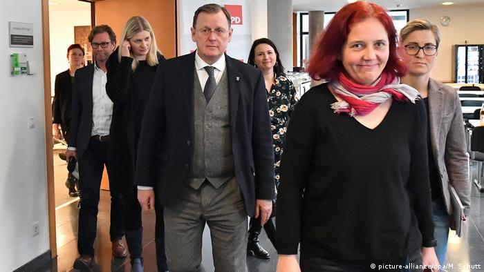 Politicians come out of the meeting in Thuringia