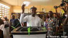 22.2.2020*** Opposition leader and presidential candidate of MPDD (Patriotic Movement for Democracy and Development) Agbeyome Kodjo casts his ballot during presidential election in Lome, Togo February 22, 2020. REUTERS/Luc Gnago