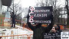 Russland Justiz l Protestaktion gegen Urteile im Netz-Fall in St. Petersburg.