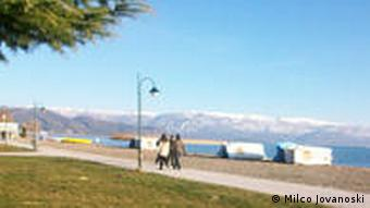 Strand in Struga am Ohrider See