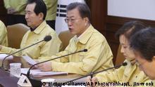 Südkorea Seoul Moon Jae-in verhängt höchste Alarmstufe wegen Coronavirus