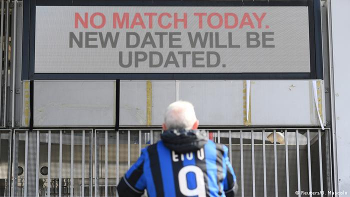 Sign reading 'no match today, new date will be updated'