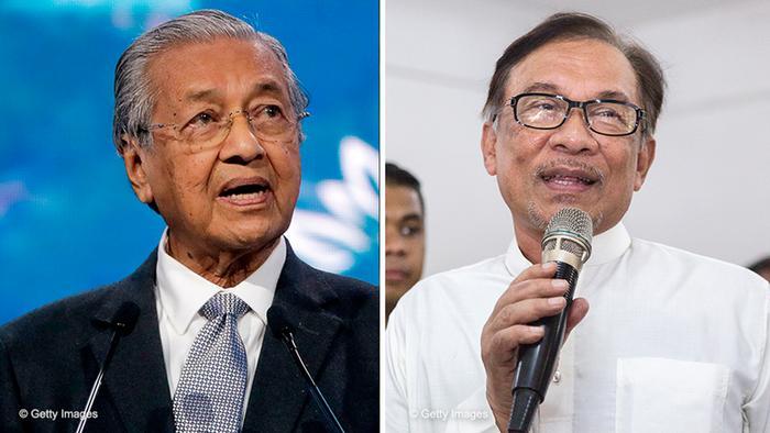 Bildkombo- Mahathir Mohamad und Anwar Ibrahim