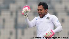 Bangladesh's Mushfiqur Rahim reacts after scoring a double century (200 runs) during the third day of a Test cricket match between Bangladesh and Zimbabwe at the Sher-e-Bangla National Cricket Stadium in Dhaka on February 24, 2020. (Photo by MUNIR UZ ZAMAN / AFP) (Photo by MUNIR UZ ZAMAN/AFP via Getty Images)