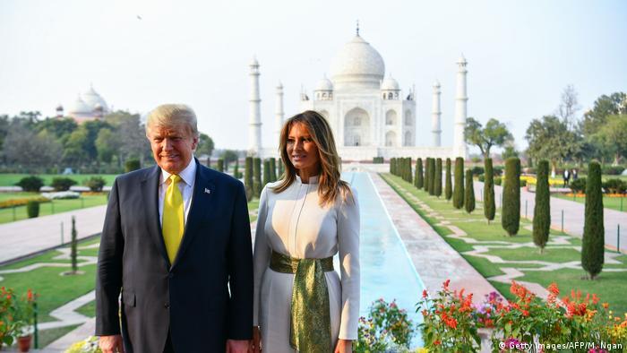 US President Donald Trump and Melania Trump visit the Taj Mahal in Agra