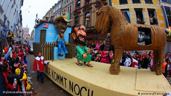 A float featuring Obama at the Rose Monday Parade in Cologne
