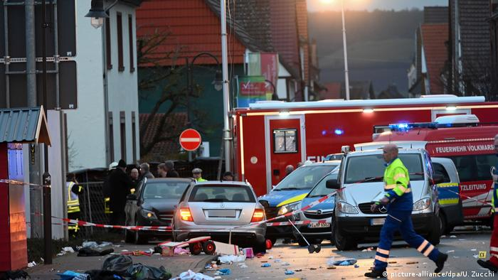 The scene after the attack in Volkmarsen, where scores were injured