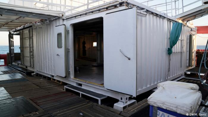Container as shelter on board the Ocean Viking