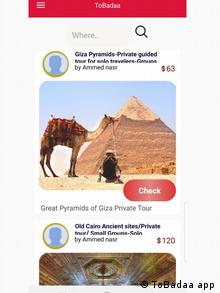 Screenshot of ToBadaa app showing a camel and its owner in front of the pyramids