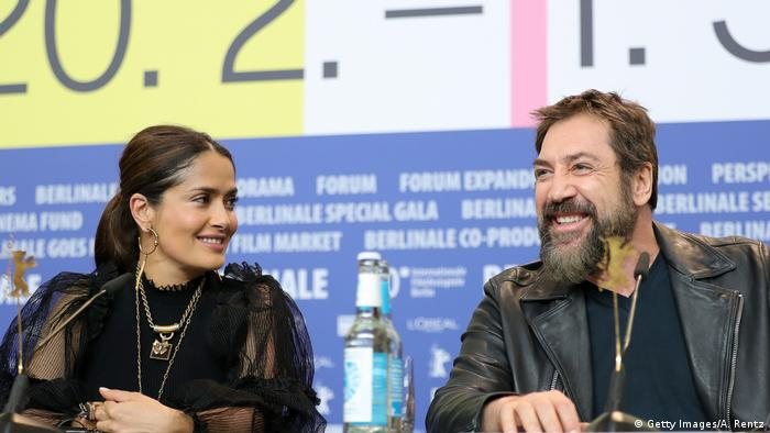 Salma Hayek with her 'favorite actor,' Javier Bardem at the Berlinale 2020 (Getty Images/A. Rentz)