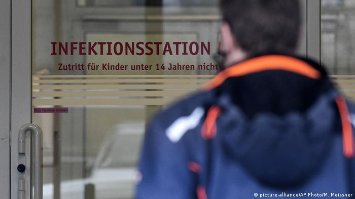 The door of a German hospital where a doctor was found to be infected with coronavirus