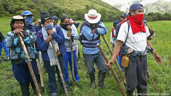 Representantes del pueblo indígena Paez, en el departamento del Cauca, suroeste de Colombia.