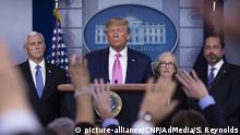 United States President Donald J. Trump delivers remarks during a news conference in the James S. Brady Briefing Room of the White House in Washington D.C., U.S., on Wednesday, February 26, 2020. Trump, joined by members of the Coronavirus Task Force, including United States Vice President Mike Pence, left, Dr. Anne Schuchat, Principal Deputy Director of the Centers for Disease Control and Prevention, center right, and United States Secretary of Health and Human Services (HHS) Alex Azar, right, attempted to lessen concerns over the Coronavirus after health officials told lawmakers that it is seemingly inevitable that the disease will spread in the United States. Credit: Stefani Reynolds / CNP/AdMedia  