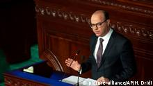 26.02.2020 *** Tunisian designated Prime Minister Elyes Fakhfakh delivers his speech at the parliament, Wednesday, Feb. 26, 2020. Tunisia's parliament is expected to hold a confidence vote Wednesday on designated prime minister Elyes Fakhfakh's government. (AP Photo/Hassene Dridi)
