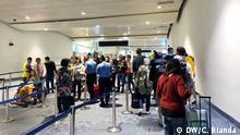Temperature checks on passengers arriving in Soekarno Hatta Airport, on Thursday, February 27th 2020, in Jakarta, Indonesia. (c) DW/Caesa Rianda