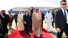 U.S. Secretary of State Hillary Rodham Clinton walks with Saudi foreign minister Prince Saud Al-Faisal, center right, upon her arrival at King Khalid International Airport in Riyadh, Saudi Arabia, Monday, Feb. 15, 2010. Clinton flew to Riyadh, Saudi Arabia, for a meeting with King Abdullah and a session with Saudi Foreign Minister Prince Saud al-Faisal. (AP Photo/Hassan Ammar)