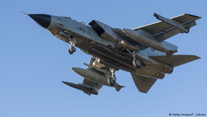 A German 'Tornado' fighter aircraft prepares to land at Büchel Air Base