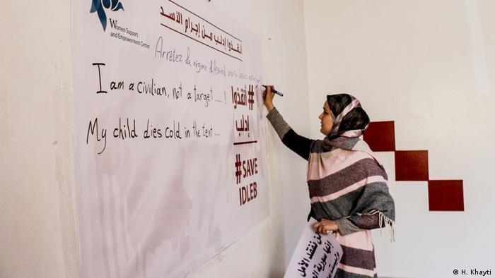 هدى خيتي وفريقها في مركز المرأة في إدلب