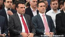 Wahl-Koalition in Nord-Mazedonien - Sozialdemokraten (SDSM) und albanische Bewegung BESA, Skopje, 27.02.2020, Foto: Petr Stojanovski (Zoran Zaev, Bilal Kasami, SDSM, BESA, Wahlen, Nord Mazedonien)