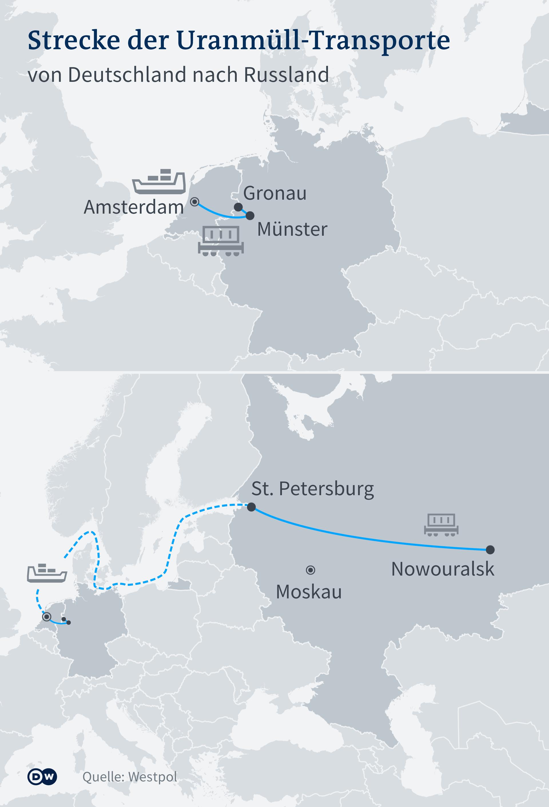 Infografik - Strecke der Uranmüll-Transporte - DE
