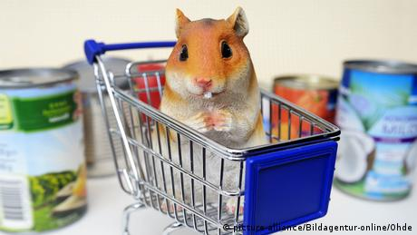 A cartoon hamster sits in a grocery cart