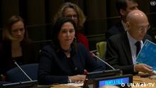 Bilderbeschreibung; UN- New York, 27 Februar 2020, High Level Event: Advocating Human Rights in the 21 Century- building bridges between Geneva and New York. Moderator Pamela Falk. Quelle: http://webtv.un.org/live-now/watch/advocating-human-rights-in-the-21st-century-%E2%80%93-building-bridges-between-geneva-and-new-york/6136650531001/?term= (0:32 Min.); zuletzt aufgerufen am 28.02.2020