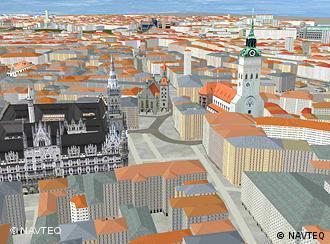Панорама Мюнхена на 3D-навігації Navteq