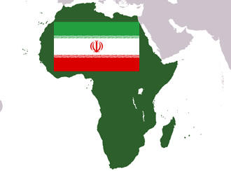 Image of the Iranian flag on a map of Africa.