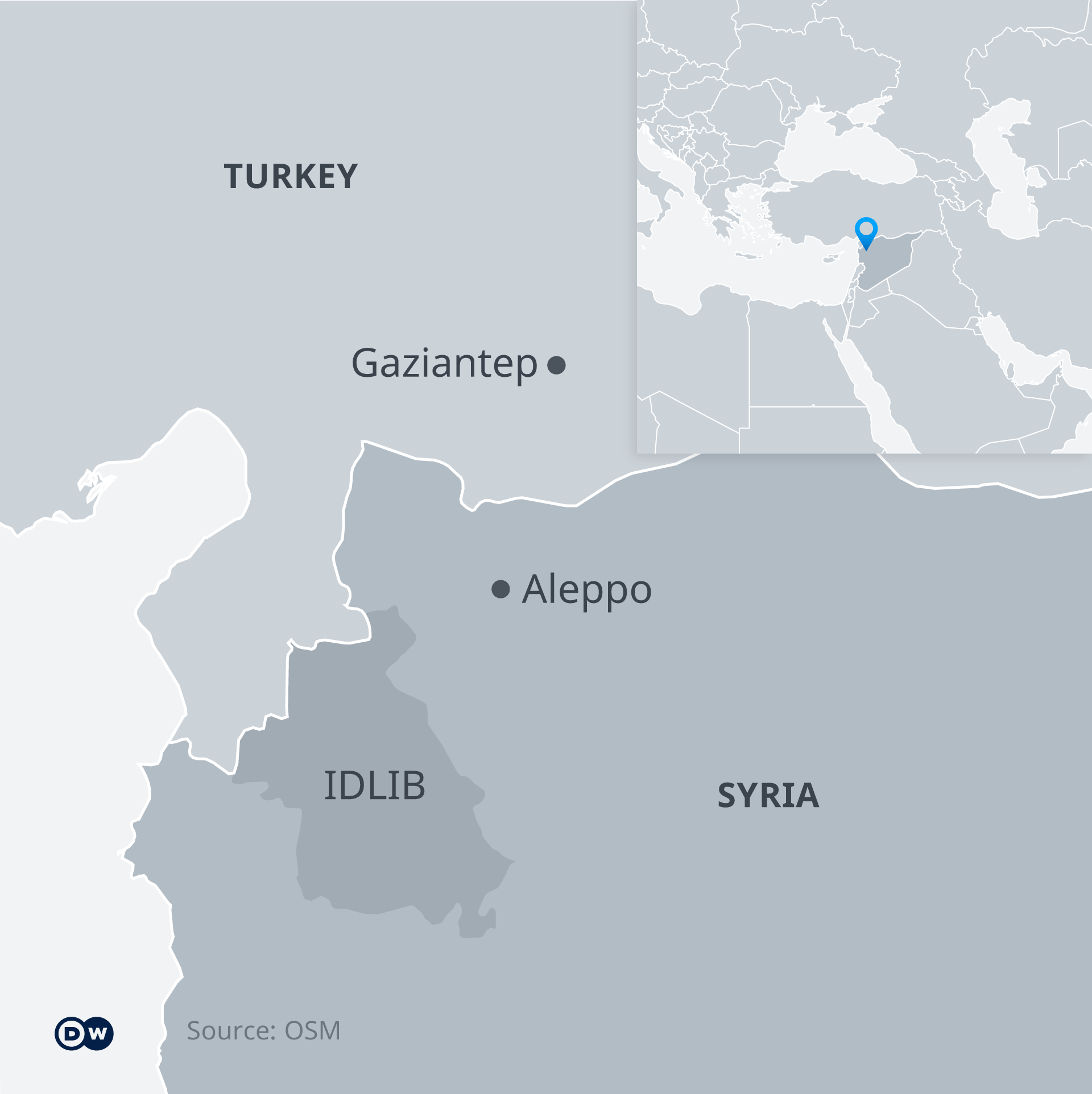 A map showing Turkey and Syria, highlighting Idlib, Aleppo and Gaziantep